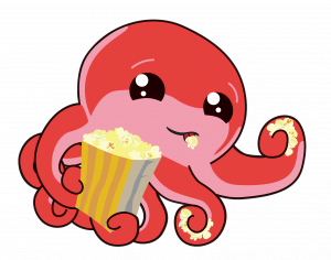 Octo eating popcorn