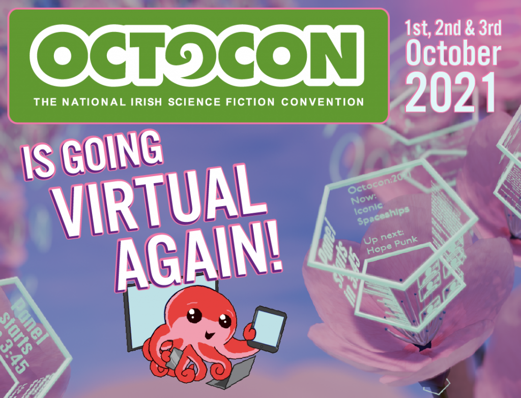 Octo holding various devices with a caption of Octocon is going virtual again!